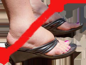 Неподходящая обувь для пожилой женщины
